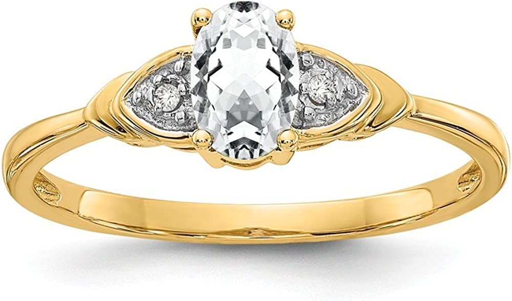 14k Yellow Gold White Topaz Diamond Band Ring Size 7.00 Stone Birthstone April Fine Jewelry For Women Gifts For Her