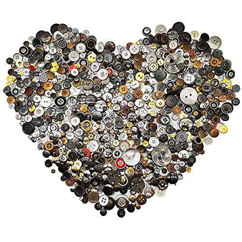 Esoca 650Pcs Gold and Silver Buttons for Crafts Plastic Gold Buttons Assorted Silver Buttons Metallic Buttons for Crafts Art DIY Christmas Decoration (Metal Color)