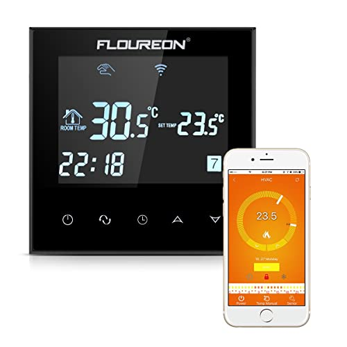 FLOUREON – Termostato 16 A Termostato de Pared Pantalla LCD con Blanco Backlight Digital Smart programable