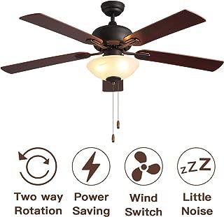 Ceiling Fan with Light Sold by VISDANFO 52-inch Brown 5-leaf Flush Mount Indoor Ceiling Fan Light for Living Room Dining Room Kitchen Restaurant.