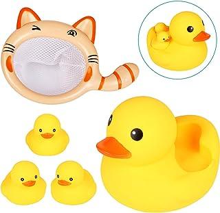 お風呂用おもちゃ Acetek 赤ちゃんおもちゃ 水遊び アヒル親子4匹 釣りネット 水鉄砲 ベビー用 かわいい 動物 子どもおもちゃ プール お風呂ハンモク 浮き輪 噴水 鳴ける プレゼント 5点セット