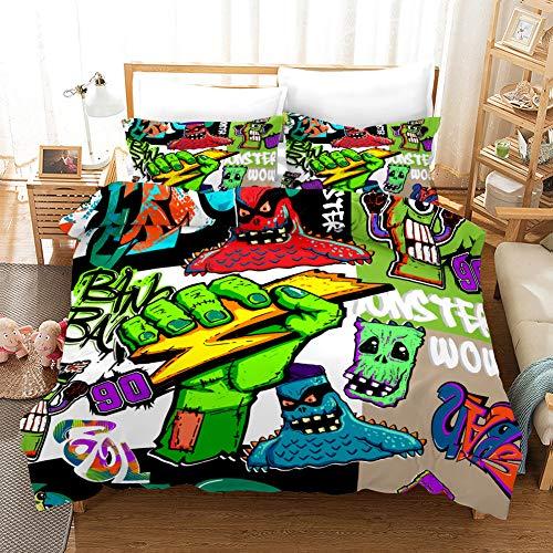 SK-LBB - Juego de ropa de cama para niños, diseño de zombies de dibujos animados 3D, funda de edredón y funda de almohada (06 unidades, 140 x 210 cm)
