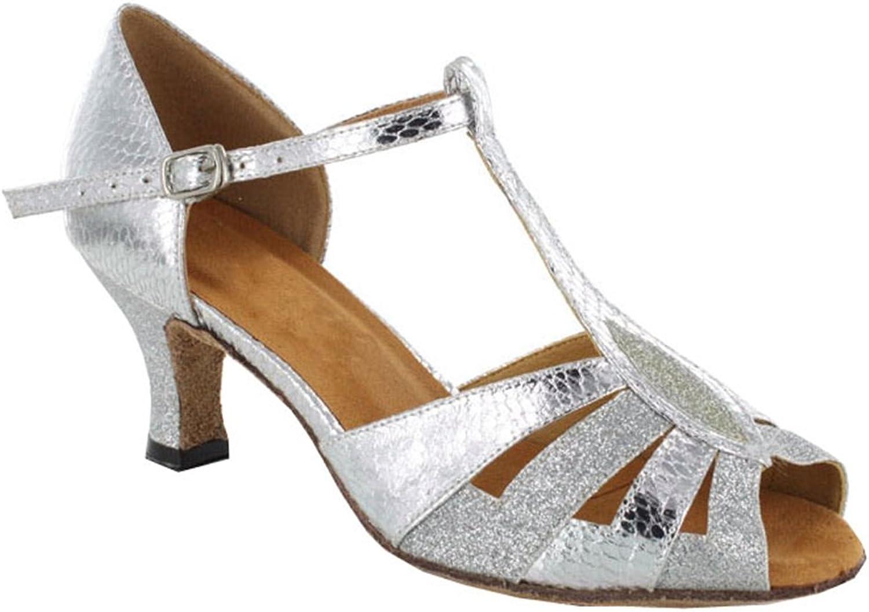 TDA Women's Wonderful High Flared Heel Salsa Tango Ballroom Latin T-Strap Dance Sandals