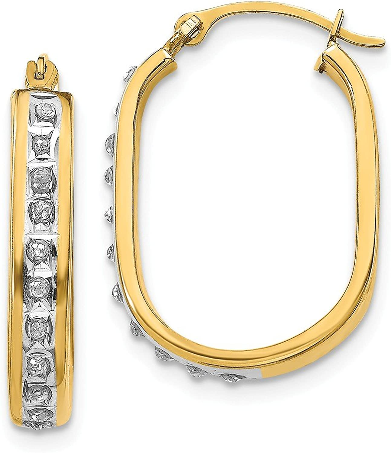 Beautiful Yellow gold 14K Yellowgold 14k Diamond Fascination Squared Hinged Hoop Earrings