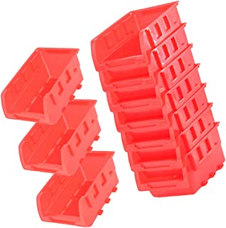 Cabilock Lot de 10 mini boîtes à outils empilables à suspendre pour organiser les pièces de rangement en plastique Rouge