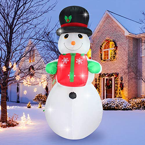 ShinyDec Christmas Inflatable 8ft. Xmas Snowman with Gift, LED Lights Airblown Oversize Yard Decorations, White