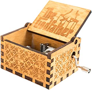 Martinimble Wooden Engraved Music Box Hand Crank Godfather Happy Birthday Friends Gifts(Play Power: Hand Cranked)