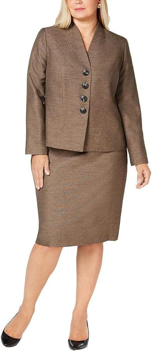 Le Suit Womens Plus Metallic Office Wear Skirt Suit