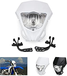 Motorcycle Universal Headlights Head Light Headlamp Street Fighter for KTM Kawasaki Honda Yamaha Suzuki Pit Dirt Bike Motocross Enduro Supermoto (White)