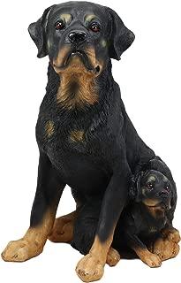 Ebros Lifelike Realistic Sitting Rottie Rottweiler Dog Statue 11.5