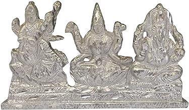 Divya Mantra Hindu God Ganesh Goddess Laxmi & Saraswati Maa Idol Sculpture Statue Murti - Puja Room Temple Meditation Offi...