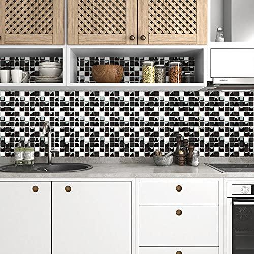Azulejos Adhesivos Blanco Negro Clásico Vinilos Cocina AzulejosAntisalpicadurasRollos Adhesivos para Azulejos de Cocina Vinilos de Pared Decorativos VinilosBaño Vinilos Decorativos 10x10cm