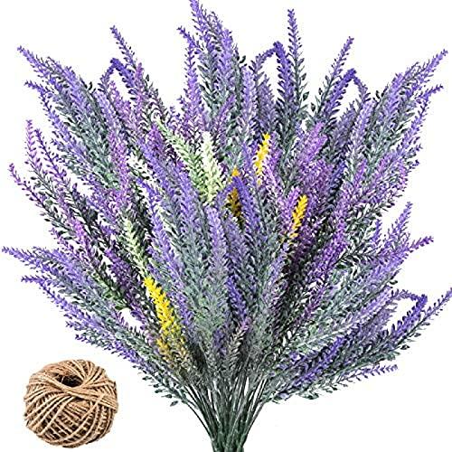 YYHMKB 6 Piezas de Ramos de Flores Artificiales de Lavanda con Cuerda de cáñamo, Plantas de Flores Artificiales de plástico, Flores Falsas, Fiesta en casa, Boda