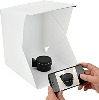 Annsm New 9.5 inch X 8.7 inch X 9.5 inch Folding Light Photo Box with Adjustable Brightness and Built-in Snap Buttons Fastened 4 Color Background Sheets