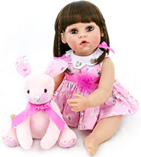 PURSUEBABY Real Life Reborn Baby Dolls Full Body Silicone Vinyl Girls 22 inch Abigail Washable Realistic Silicone Vinyl Baby Dolls, Adorable Rabbit Toy Gift Set with Gift Box