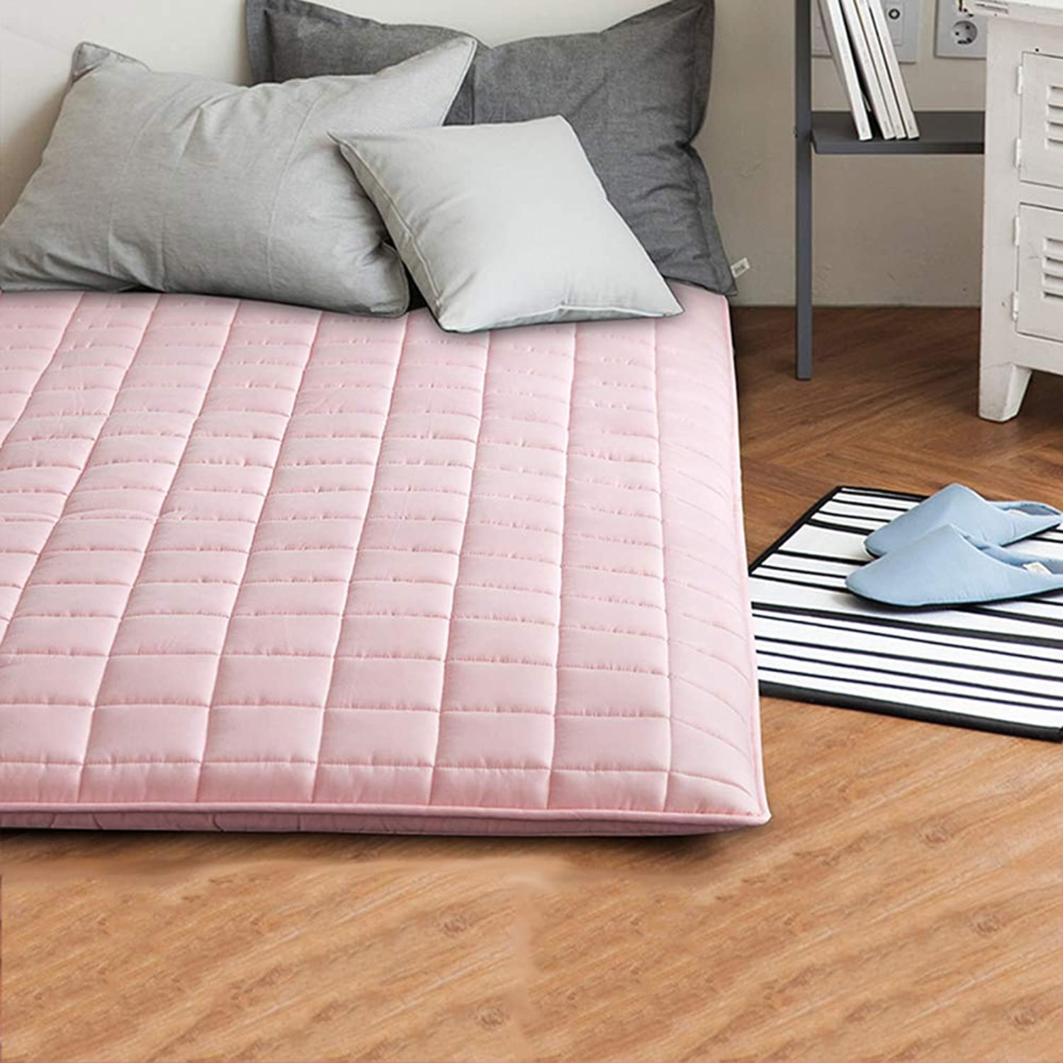 Dust mite & Allergy Control Mattress Predector Sleeping pad Tatami futon Mattress, Quilted Fitted 205tc Cotton Mattress pad Topper Japanese Floor futon mats-Pink 120x200cm(47x79inch)