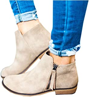 Women's Ankle Boots Pointed Toe Low Heel Side Split Stacked Zipper Booties