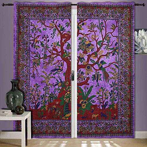 Indian purpleTree Of Life Curtain Wall Hanging, 82 X 27 Inch Mandala Window Curtains Panels Pair 82 Length Set of 2,Bird Tapestry,Indian hippie curtains Bohemian psychedelic -mandala Wall-hanging