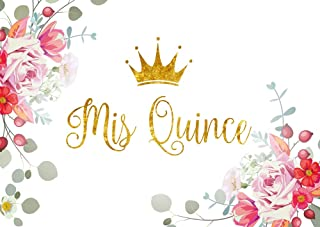 HUAYI mis Quince 15th Birthday Photo Booth Props Pink Floral Gold Crown Photography Custom Birthday Backdrop Background w-1563