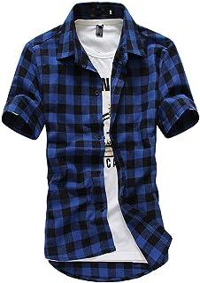 riou Camisa de Manga Corta para Hombre Cuello En V Camisetas Botón En Slim para Camisas Ocio Solapa Casual a Cuadros de Pr...