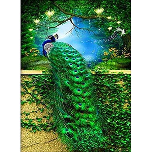 Soreatr Pintura 5D Diamante para Adultos y Niños Princesa Pavo Real Taladro completo Bordado Redondo Kits de Punto de cruz Artesanía Decoración de Pared para el Hogar Gift-40x50cm