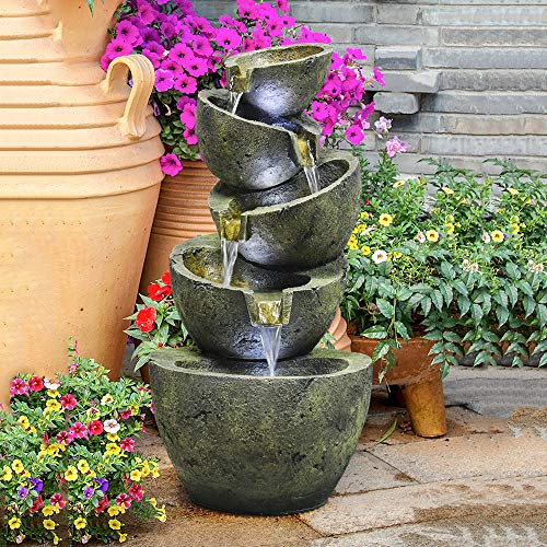 PeterIvan Outdoor Water Fountain - 23.6In Hand-Crafted Cascading 5-Tier Weatherproof Water Fountain with LEDs Lights for Gardens & Patios