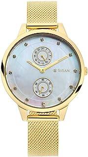ساعة سباركل II بيضاء بمينا من عرق اللؤلؤ بسوار جلدي