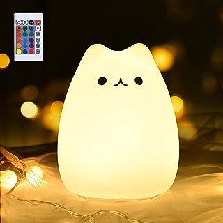 GoLine Valentine's Gift LED Kitty Night Light w/Remote Control Cute Multicolor Children Baby Nursery Lamp Tap Control 5 Li...
