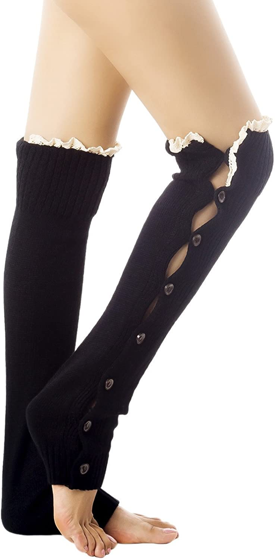iB-iP Women's Knitting Button Down Light Eyelet Lace Cuff Knee High Leg Warmers