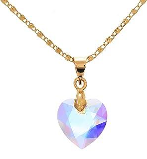 Collar Corazon Princess Swarovski Tornasol - Chapa de Oro 22k - Cadena Ajustable 40-45cm - Elegantia Jewelry