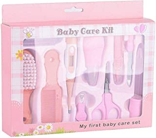 10PCS Baby Healthcare Care Kit Set with Nasal aspirator Baby Dropper Feeder Digital Thermometer Brush Comb Scissor Nail Clipper Toothbrush Nail File Tweezers Pink