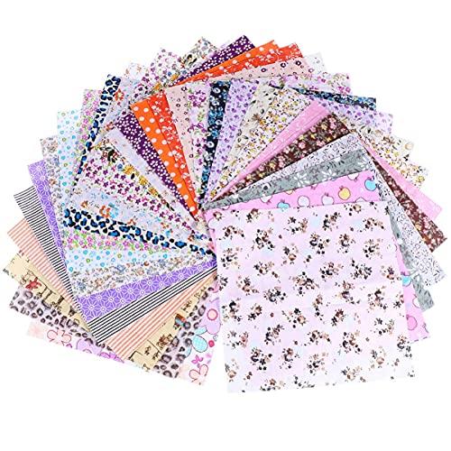 LIXBD Lot de 50 carrés de tissu en coton imprimé floral pour patchwork 20 x 20 cm (couleur : assortie)