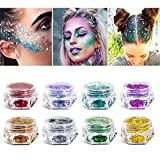 8 Boxes Makeup Face Body Glitter, 6 Colors Loose Holographic Cosmetic Chunky Glitter for Halloween, Face, Eye, Body, Hair, Nail and Other Occasions Decoration (Without Glue)
