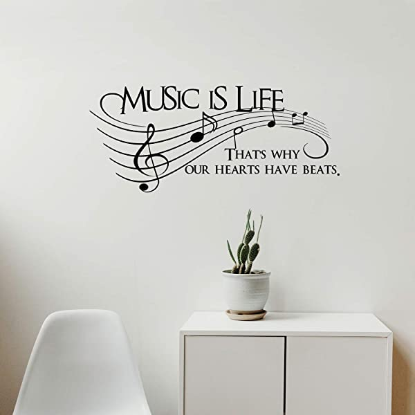 Imprinted Designs Music Is Life That S Why Our Hearts Have Beats Vinyl Wall Decal Sticker Art 30 X 13