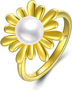 خواتم زونيا الذهبية عباد الشمس s925 فضة الاسترليني خواتم اللؤلؤ مجوهرات هدايا للنساء عيد الميلاد عيد الأم
