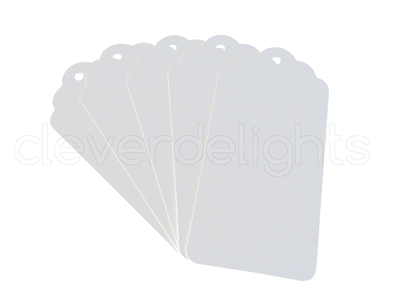 CleverDelights 100 White Kraft Gift Tags - Scalloped Hang Tag - 3.75