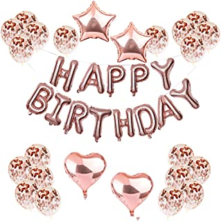 Rose Gold Birthday Decorations Set Happy Birthday Banner Heart Star Foil Balloons Confetti Balloons With Rose Gold String For Birthday Party Decoration