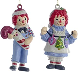 Raggedy Ann with String of Ornaments & Raggedy Andy with Santa Candy Cane Blow Mold Ornaments by Kurt Adler