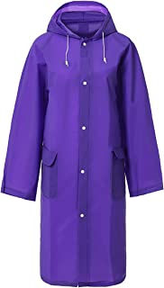 LINENLUX Waterproof Button Rain Poncho Jacket with Pockets