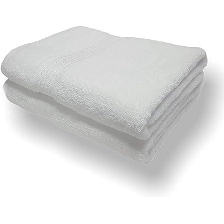 Sasma Home - 2 x sábanas de baño Jumbo (90x150cm) - 500GSM 100% algodón de fibra natural altamente absorbente - Juego de sábanas de baño grande de secado rápido (blanco)