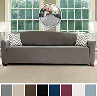 Sofa Shield Original Fitted 1 Piece Oversize Sofa Slipcover, Soft Stretch Material, Seat Width Up to 78 Inch Furniture Protector, Washable Couch Covers, Spandex Fit Slip Cover, Oversize Sofa, Gray