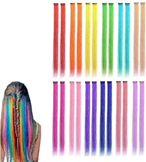 Colored Clip in Hair Extensions Party Highlight Hairpieces 21 Inch Rainbow Heat-Resistant Synthetic Hair Clips Cospaly Fashion Party Christmas Gift For Kids Girls, 12 Colors in 24 Pieces