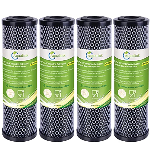 """Aqualink 1 Micron 2.5"""" x 10"""" Whole House CTO removal Carbon Water Filter Cartridge Replacement for Countertop Water Filter System,Dupont WFPFC8002,WFPFC9001,FXWTC,SCWH-5,WHEF-WHWC,AMZN-SCWH-5,4Pack"""