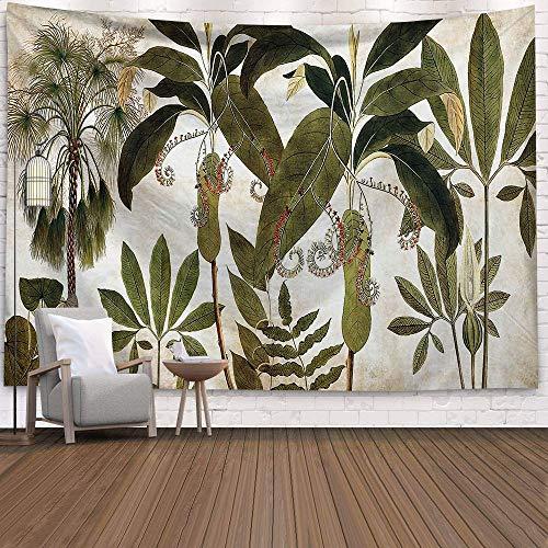 KHKJ Tapiz de Palmera Colgante de Pared Hojas Tropicales Flores Patrón Tapices Fondo Grande Techo Tela de Pared Alfombra A1 95x73cm