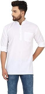 قميص كورتا تونك رجالي من سكافيج قصير بياقة مستديرة/ مقاس عادي ملائم