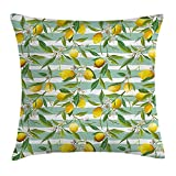 JIMSTRES Nature Throw Pillow Cushion Cover, Blooming Lemon Tree on Striped Paintbrush Background Evergreen Art, Decorative Square Accent Pillow Case, Fern Green Seafoam Yellow 22x22 inches
