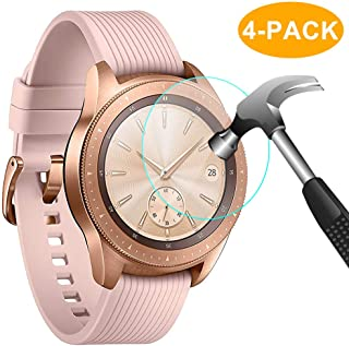 CAVN 4-Pack Screen Protector Compatible with Samsung Galaxy Watch 42 mm Tempered Glass Waterproof Screen Guard Cover Compatible with Samsung Galaxy 42 mm Rose Gold/Midnight Black Watch