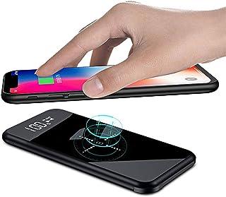 モバイルバッテリー iphone 大容量 軽量 12000mAh Qi 無線充電器 薄型 携帯バッテリー ワイヤレス おしゃれ ガラス画面 LCD残量表示 急速充電 三台同時充電 アイフォン モバイル バッテリー 置くだけ充電 持ち運び 無線と有線両用 iPad Pro / iPhone / Samsung Galaxy / Sony Xperia / Google Pixel / ASUS / Huawei / SHARP / docomo / softbank / au / Android各種他QI対応 出張 旅行 地震防災 アウトドア活動 黒