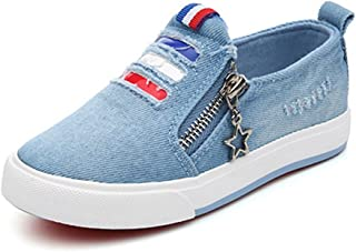 [XINXIKEJI] スリッポン 子供靴 ファスナー付き 女の子 男の子 ガールズ ボーイズ キッズシューズ ローカット スニーカー デッキシューズ 17.0-23.0cm 履きやすい 滑り止め 通気 軽い 横柄 コンフォート 可愛い 通学靴 運動靴