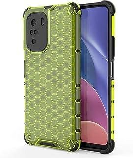 بوكو F3 جراب خليه النحل خلفي شفاف مقاوم للصدمات لهاتف بوكو اف 3 (Poco F3) - اخضر شفاف